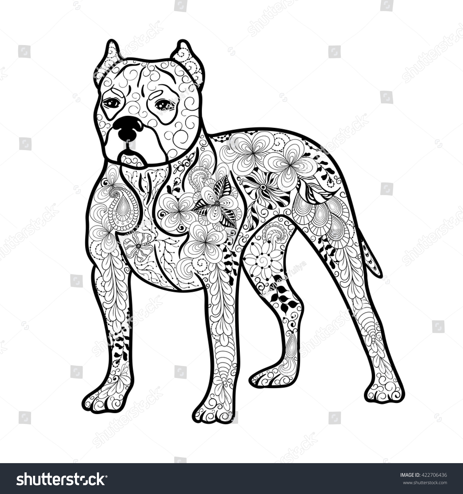 Illustration Pitbull Dog Created Doodling Style Stock Vector