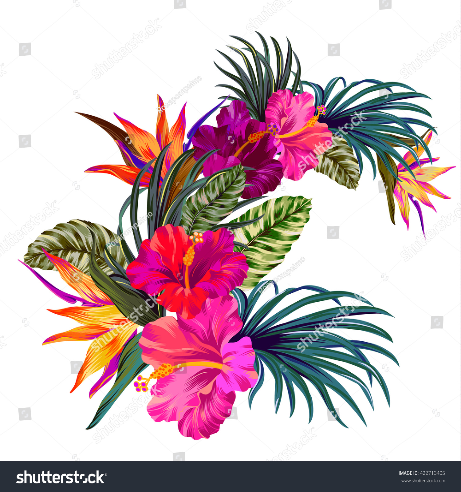 Vector bouquet tropical flowers retro hawaiian stock vector vector bouquet with tropical flowers retro hawaiian style floral arrangement with beautiful hibiscus izmirmasajfo