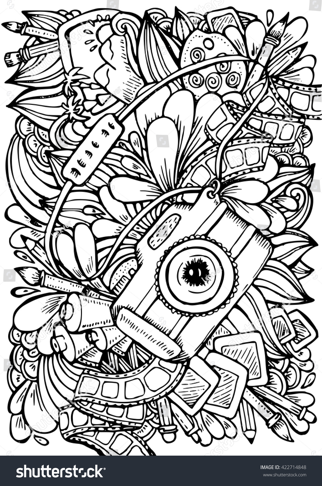 Uncategorized Camera Coloring Page vector hand drawn pattern anti stress stock 422714848 coloring book page for adult photo camera