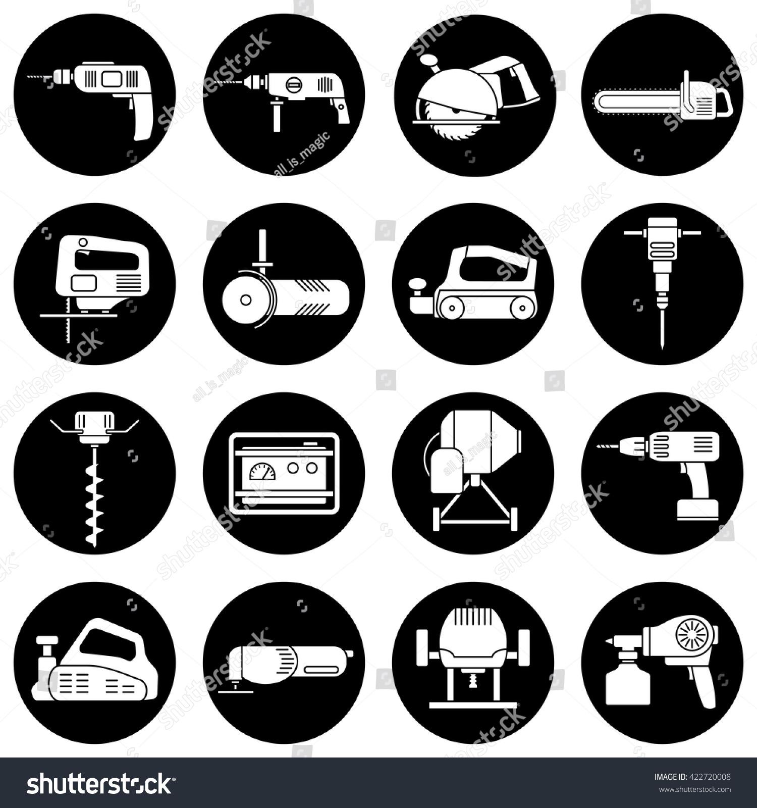Tools - Set Of Isolated Icons. Black Pictogram On White Background ...