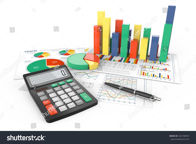 Calculate 3d illustration financial documents colorful stock calculate 3d illustration of financial documents with colorful 3d graphs and pie charts pen nvjuhfo Choice Image