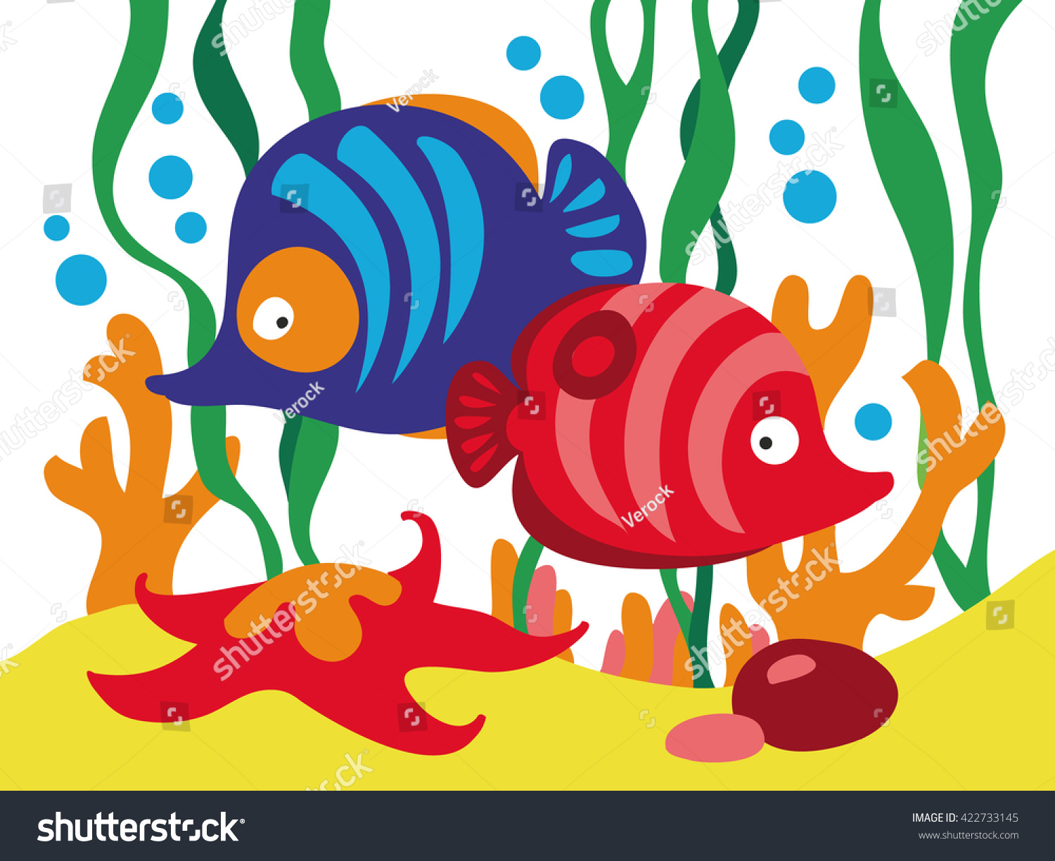 Two Cute Cartoon Fishes Under Sea Stock Vector 422733145 - Shutterstock