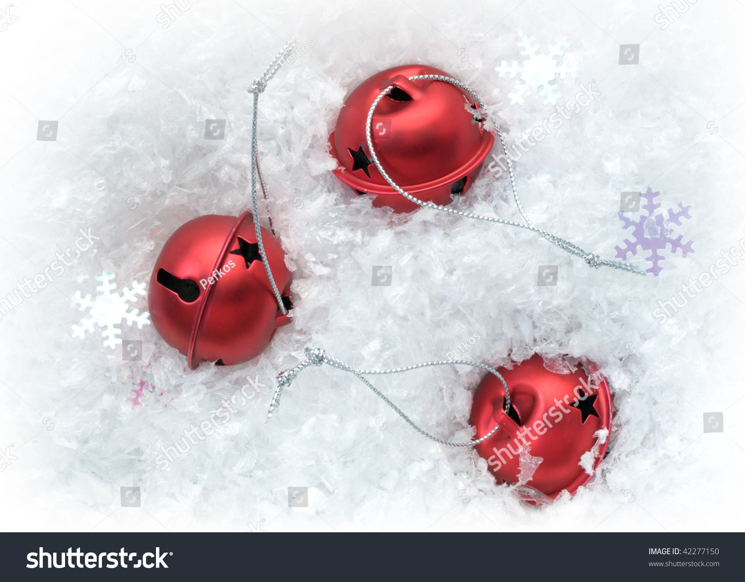 Red bells in artificial snow #42277150