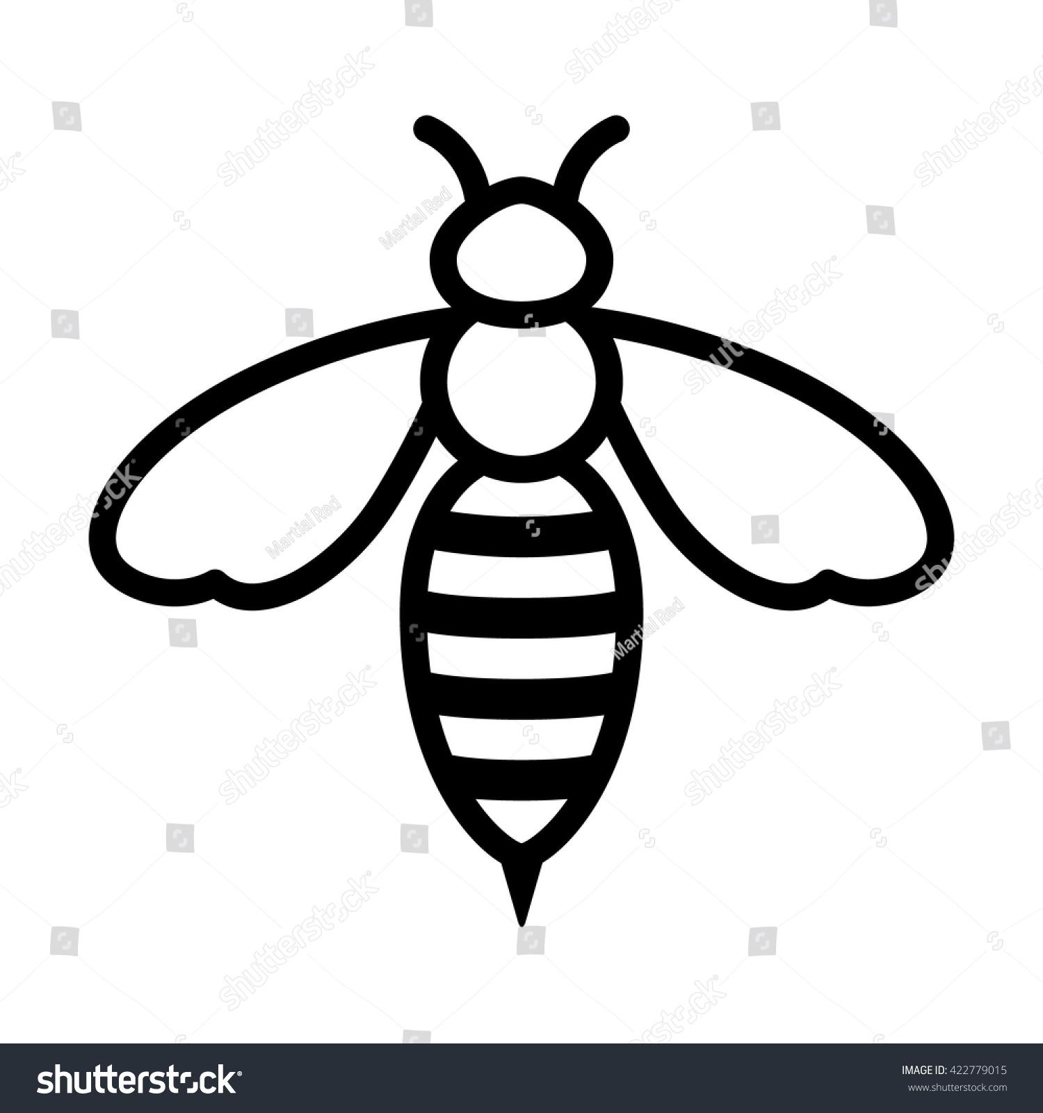 Line Art App : Honey bee wasp line art icon stock vector