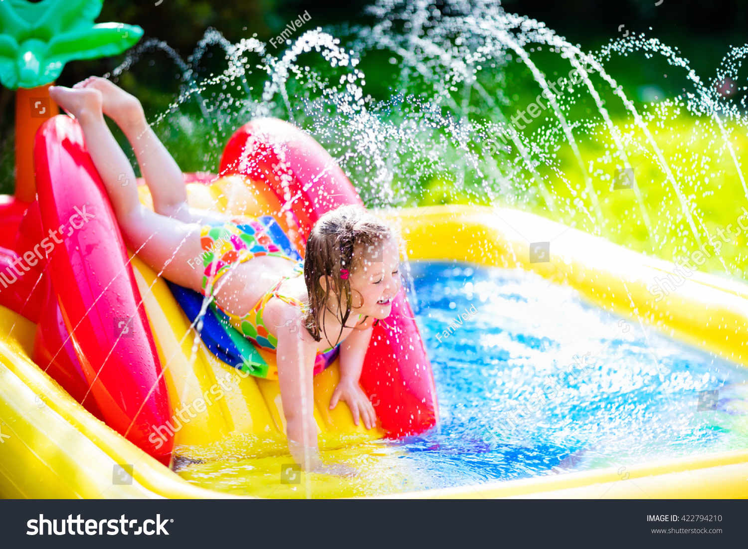 children playing inflatable baby pool kids stock photo 422794210