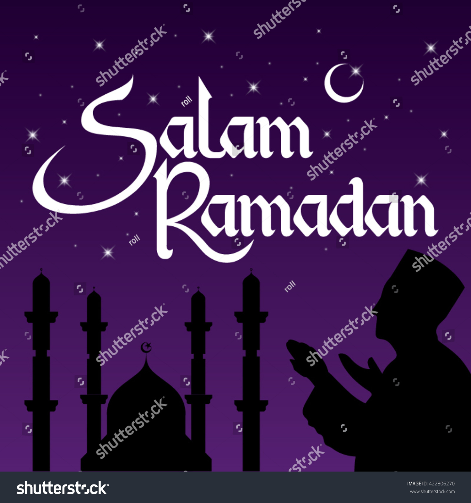 Salam Ramadan Welcoming Greeting 9th Month Stock Vector Royalty