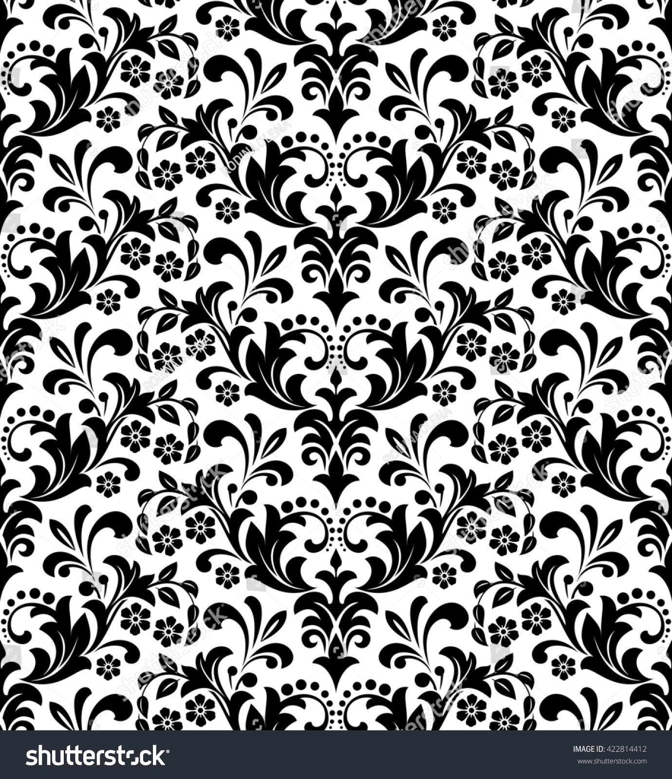 Damask Seamless Floral Pattern Royal Wallpaper Flowers On A Black