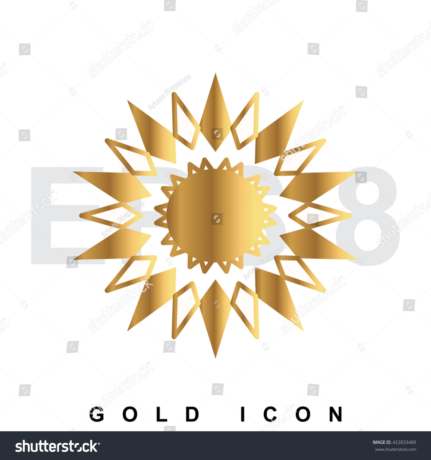 Golden Sun Rays Drawing Star Burst Stock Vector Royalty Free 422833489