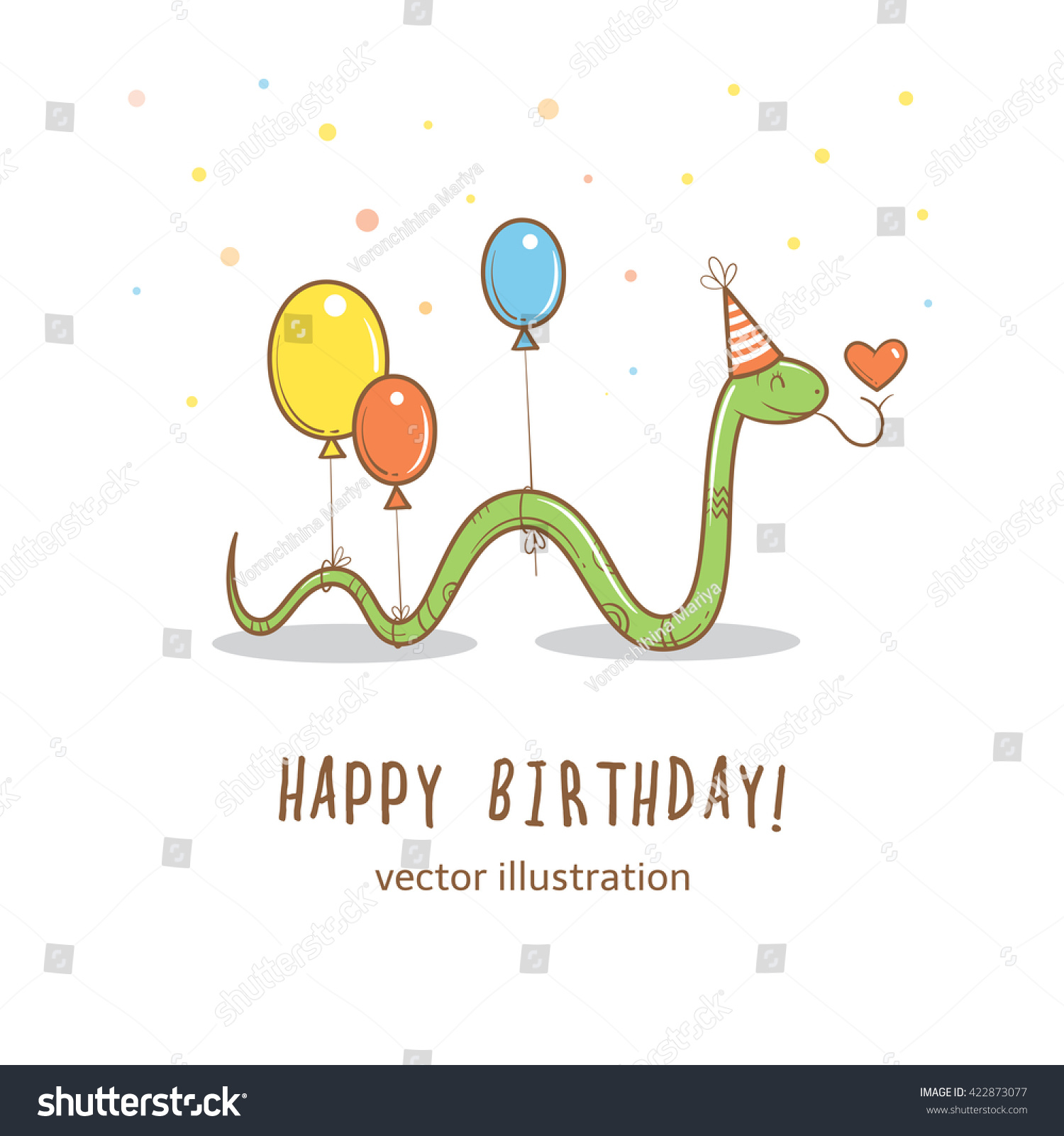 Birthday Card Cute Cartoon Snake Party Stock Vector