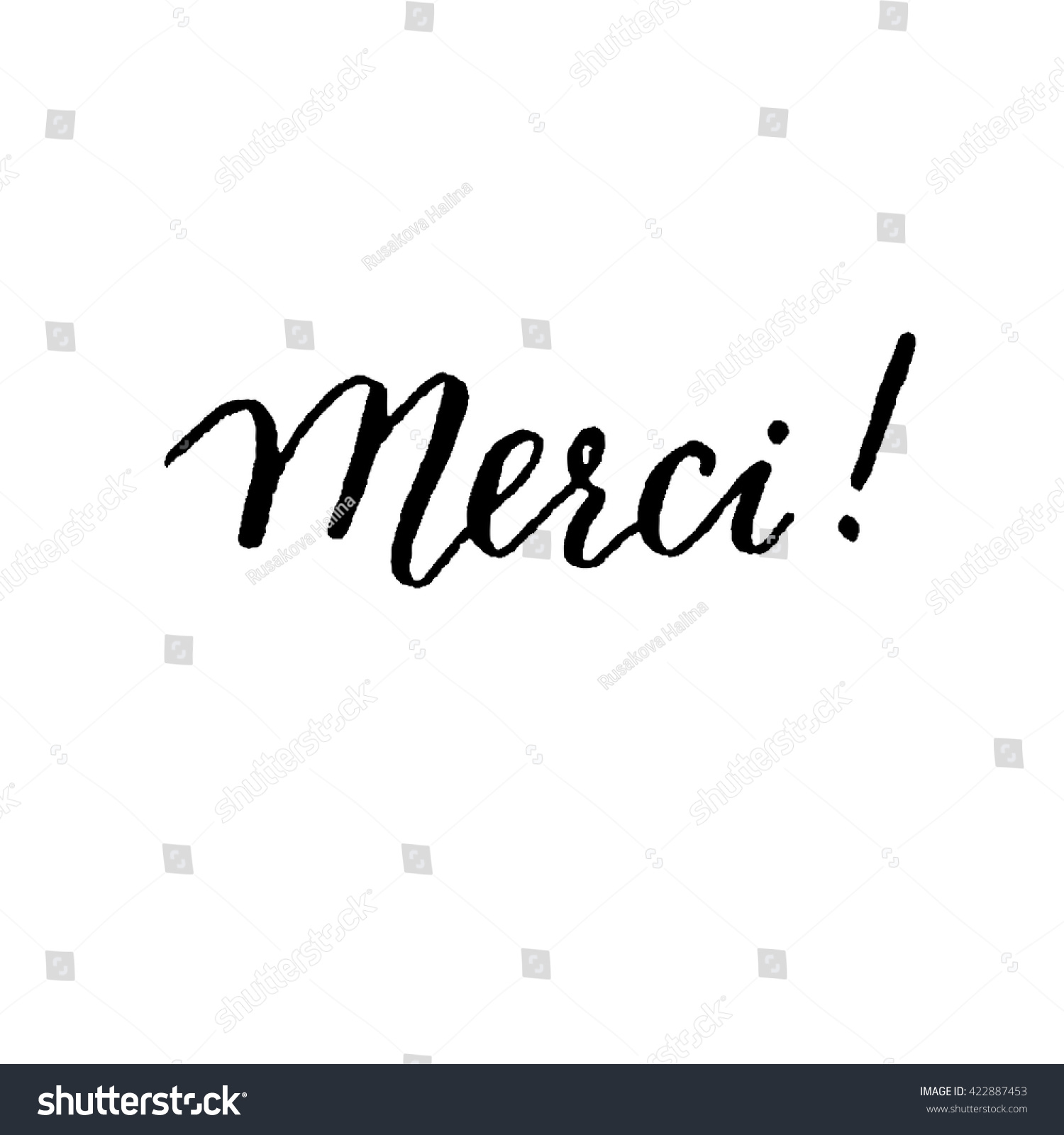 Merci hand lettering vector modern calligraphy stock