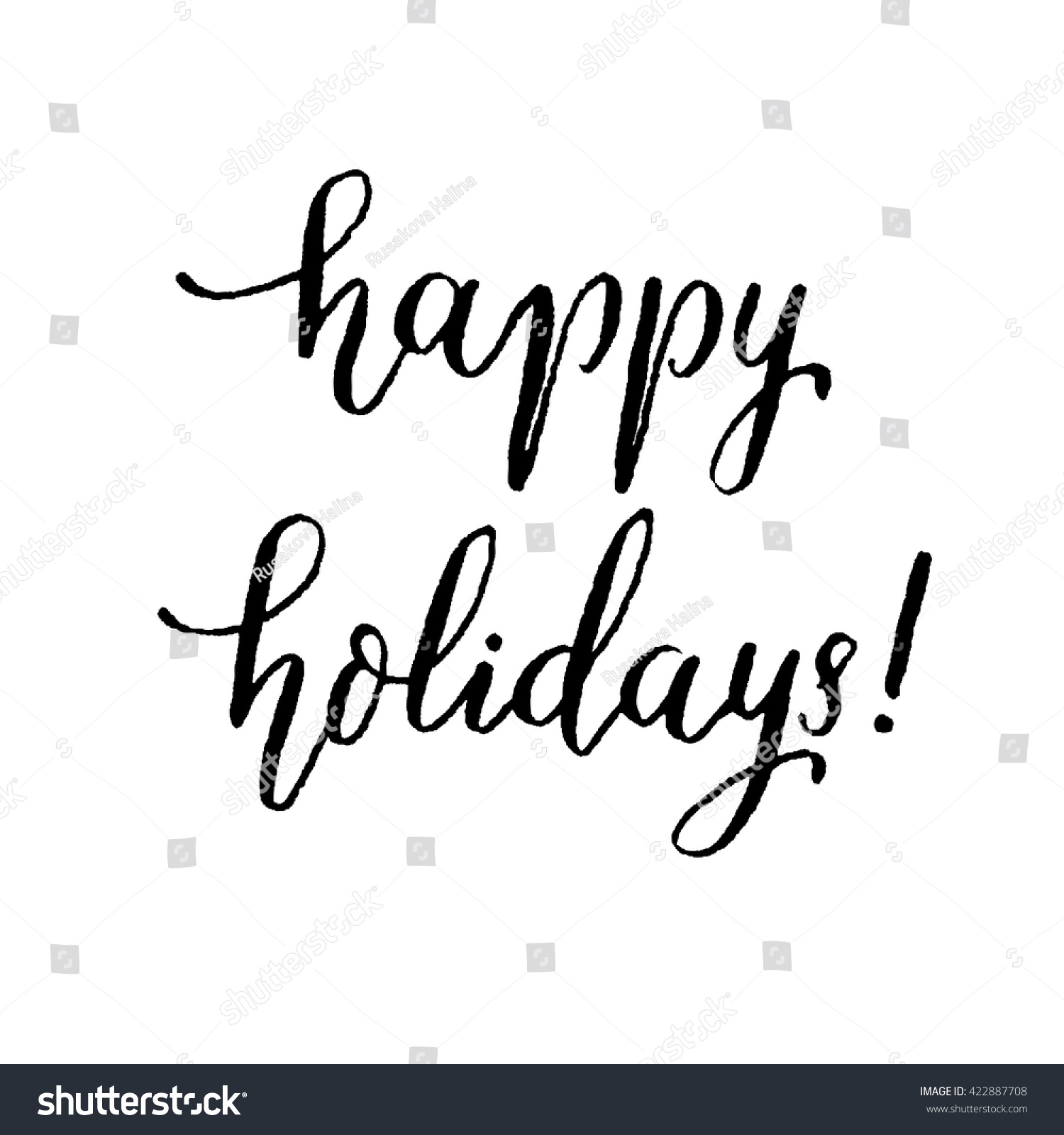 Happy Holidays Hand Lettering Vector Modern Calligraphy