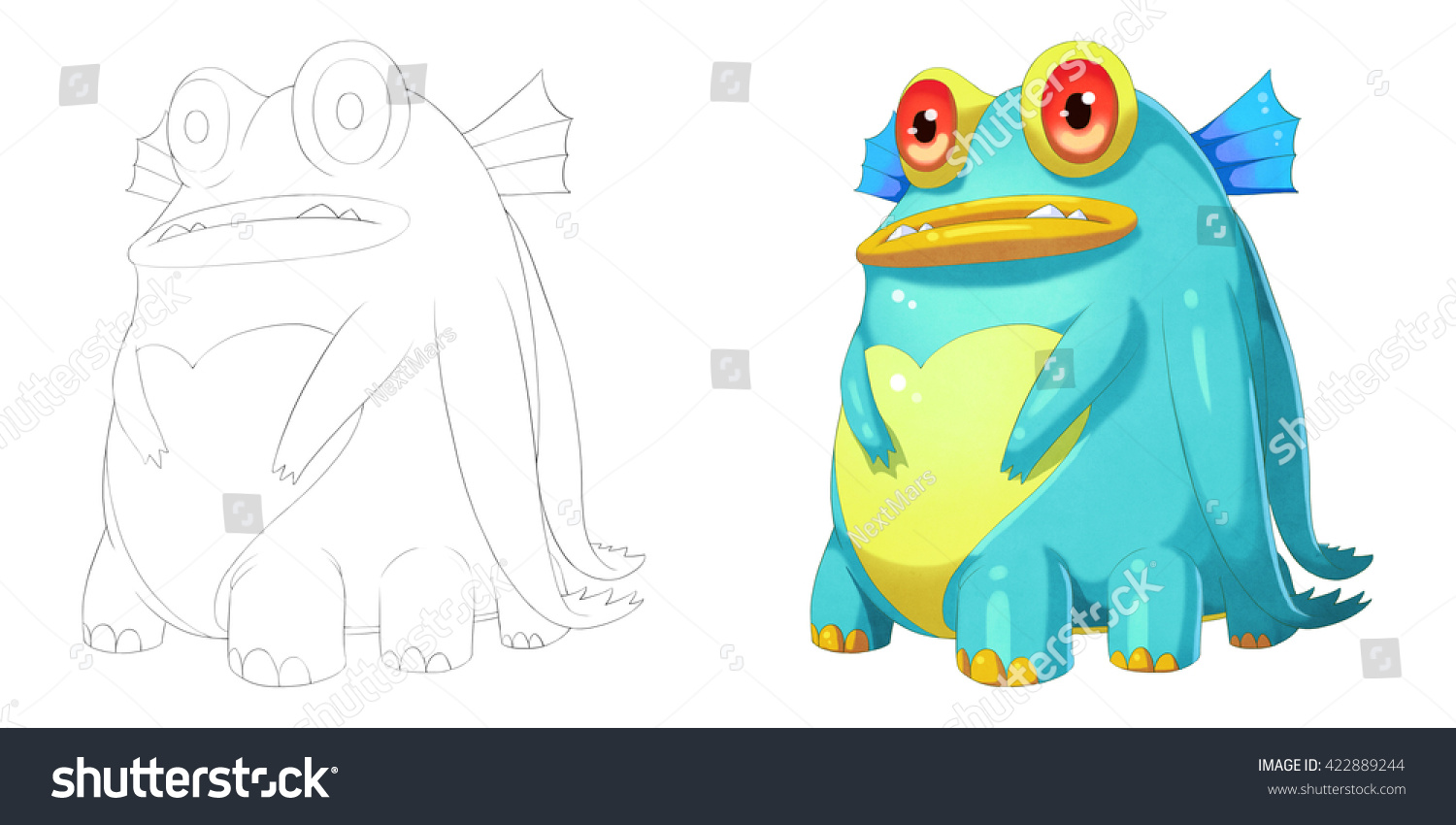 Creature And Character Design Book : Big belly fat fish creature coloring stock illustration