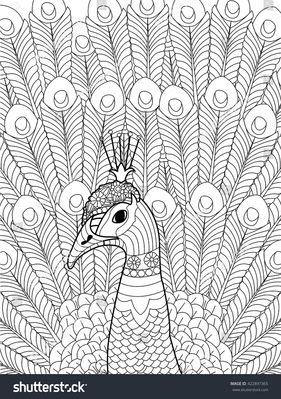 Stress coloring books for adults - Peacock Coloring Book For Adults Raster Illustration Anti Stress Coloring For Adult Zentangle