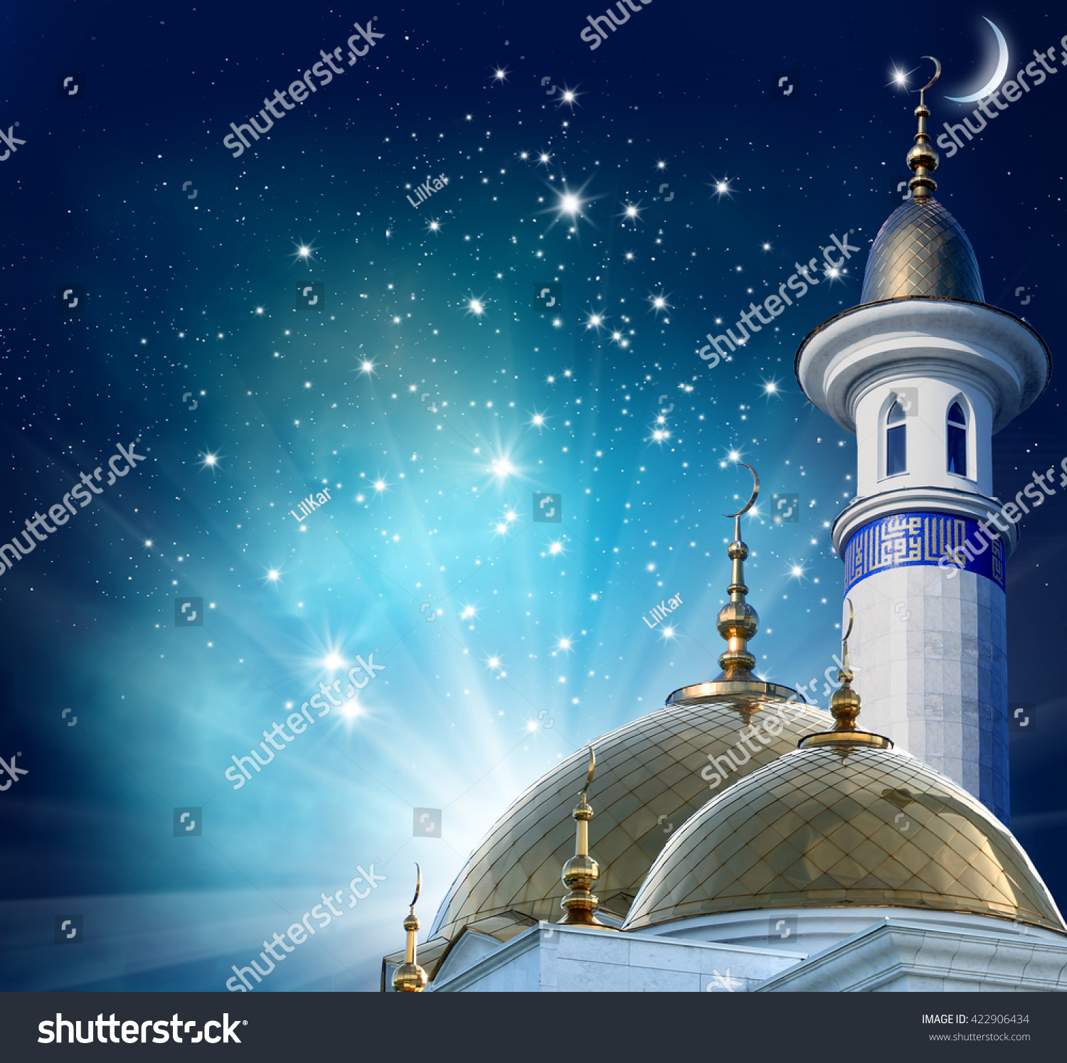 Mosque background for ramadan kareem stock photography image - Ramadan Kareem Background Crescent Moon At A Top Of A Mosque