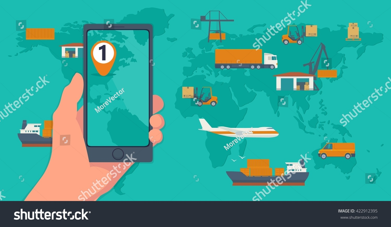Phone interface mobile app cargo service vectores en stock 422912395 phone with interface mobile app for cargo service on a screen logistic concept flat banner gumiabroncs Image collections