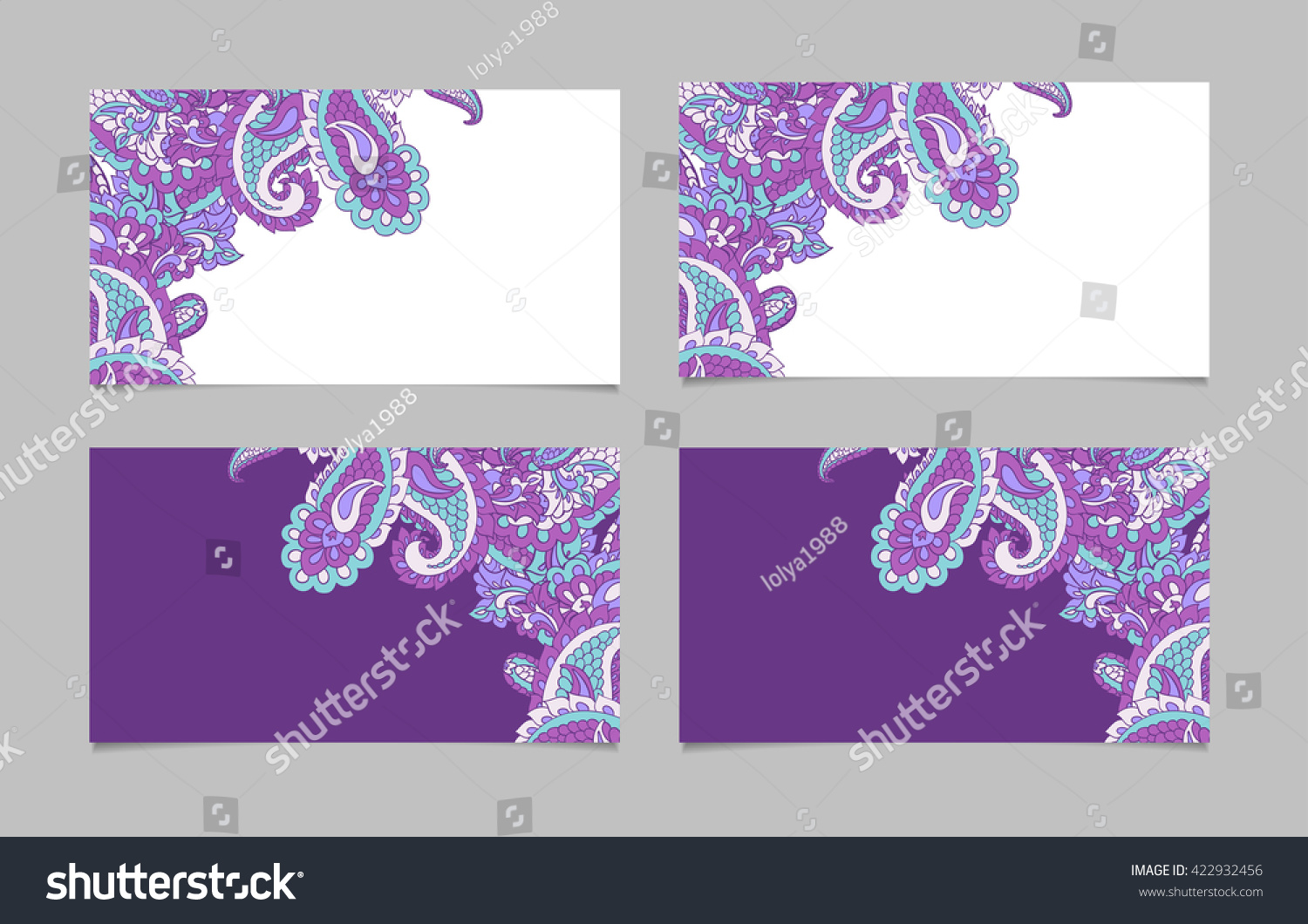 Business Card Backgrounds Paisley Stock Illustration 422932456 ...