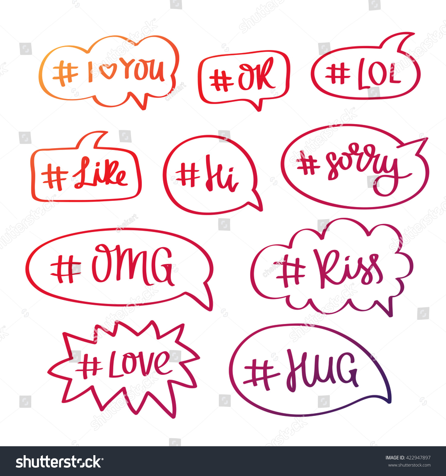 Set words hashtag bubble trend calligraphy stock vector