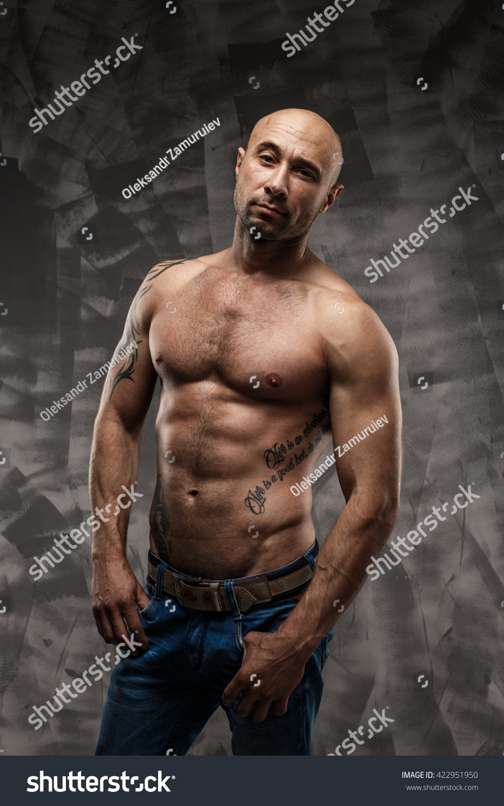 15 Year Boys Bedroom: Shirtless Muscled Fitness Man Cool Looking Stock Photo