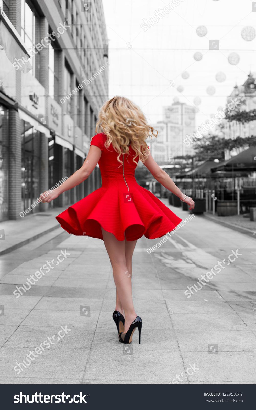 Beautiful Blonde Woman Red Dress High