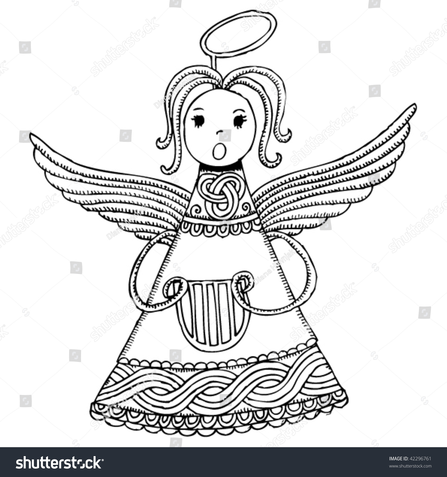 drawing of a christmas angel with croatian symbols - A Christmas Angel