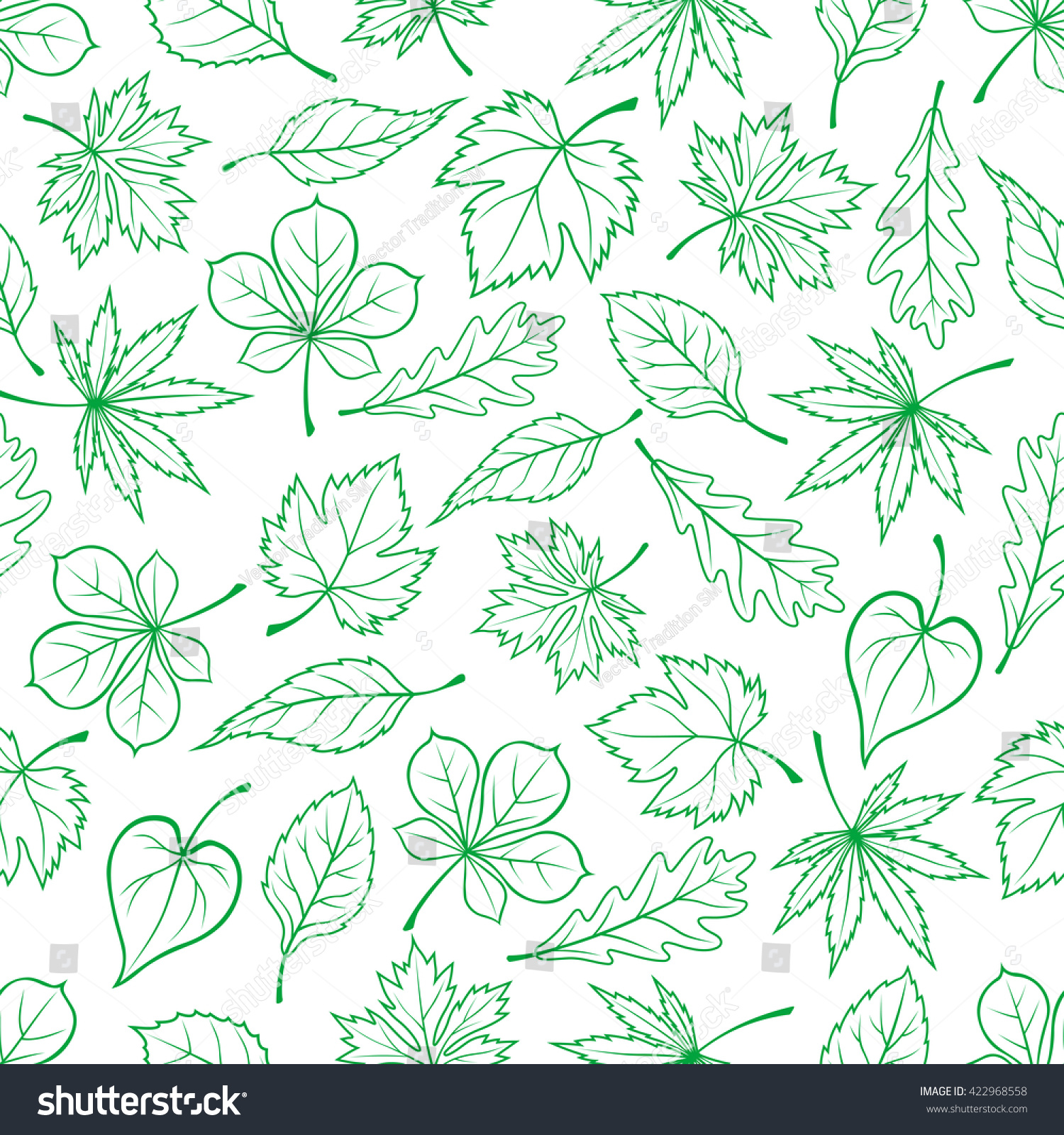 Seamless carved green leaves pattern ecology stock vector