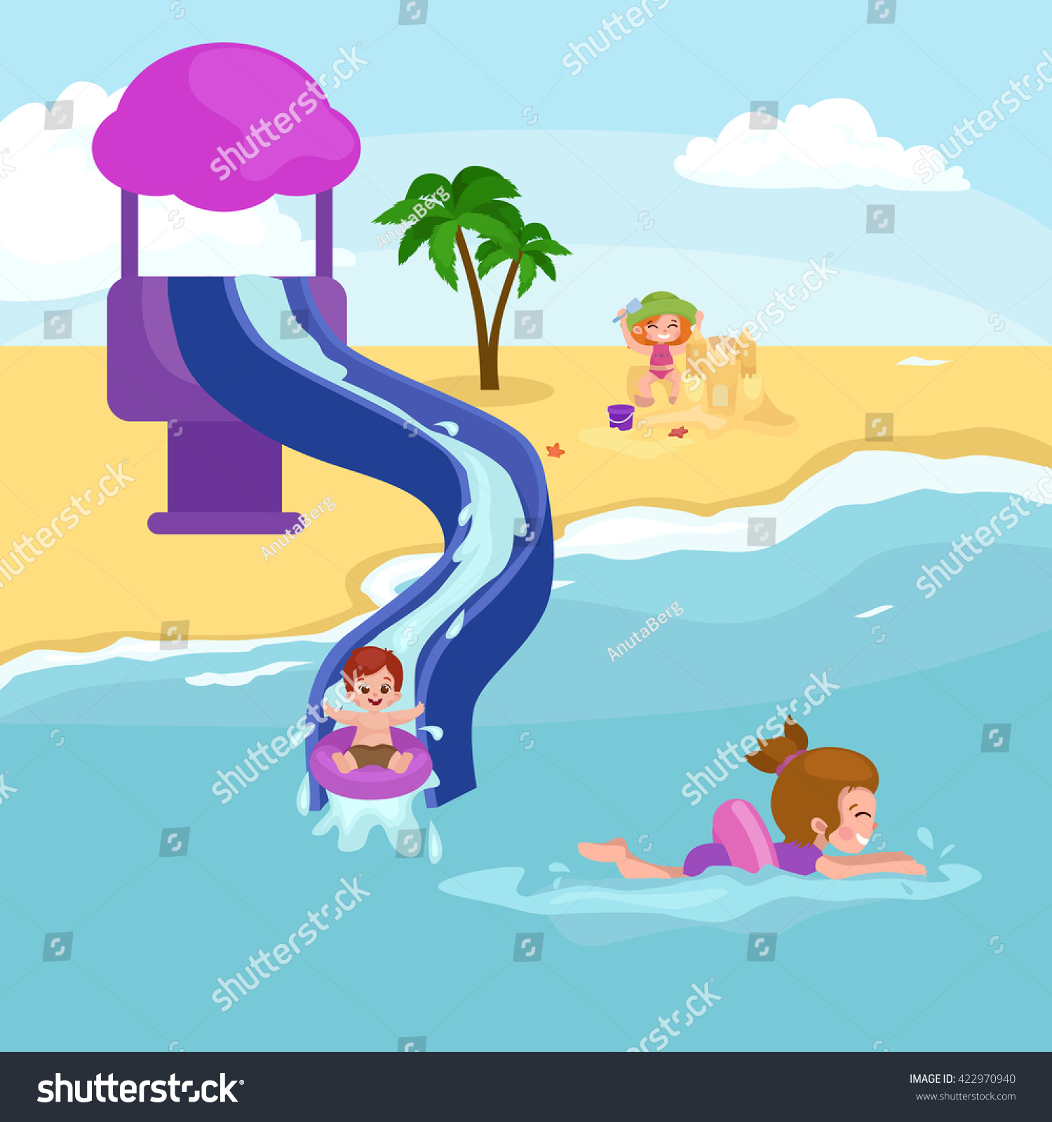 Children summer vacation in park.Kids Playing sand around water on beach slide in sea or ocean vector illustration.Happy kids summer holiday people sunning and swimming play ball have fun vocation