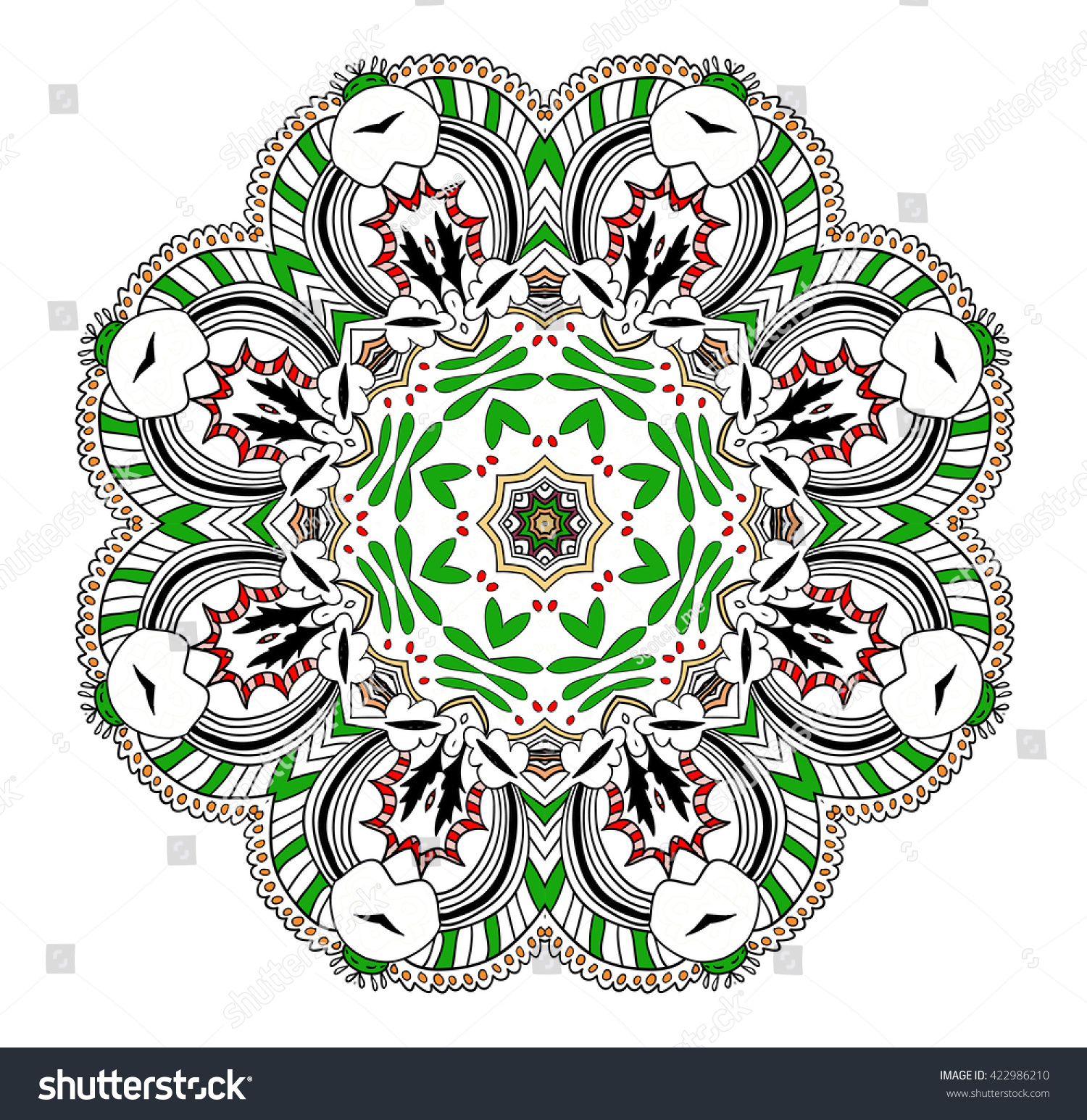 Partly Uncolored Mandala Red Green Elements Stock Vector 422986210 ...