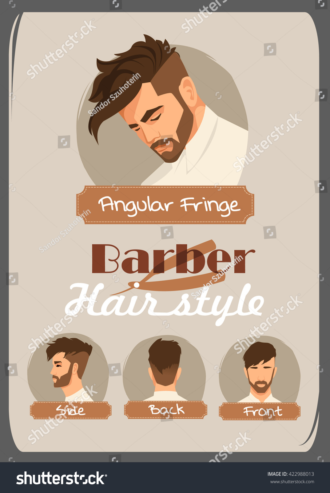Mens Haircut Hairstyle Angular Fringe Haircut Stock Vector Royalty