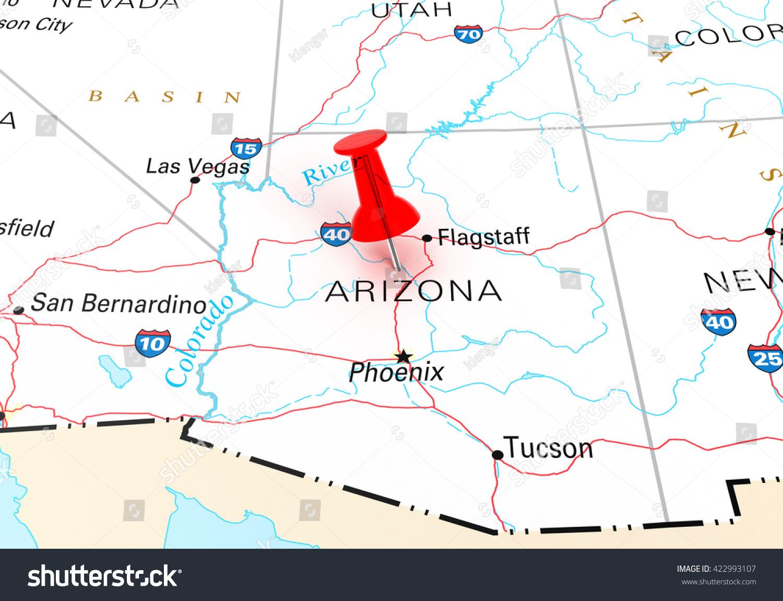 Red Thumbtack Over Arizona State Usa Stock Illustration - Arizona state in usa map