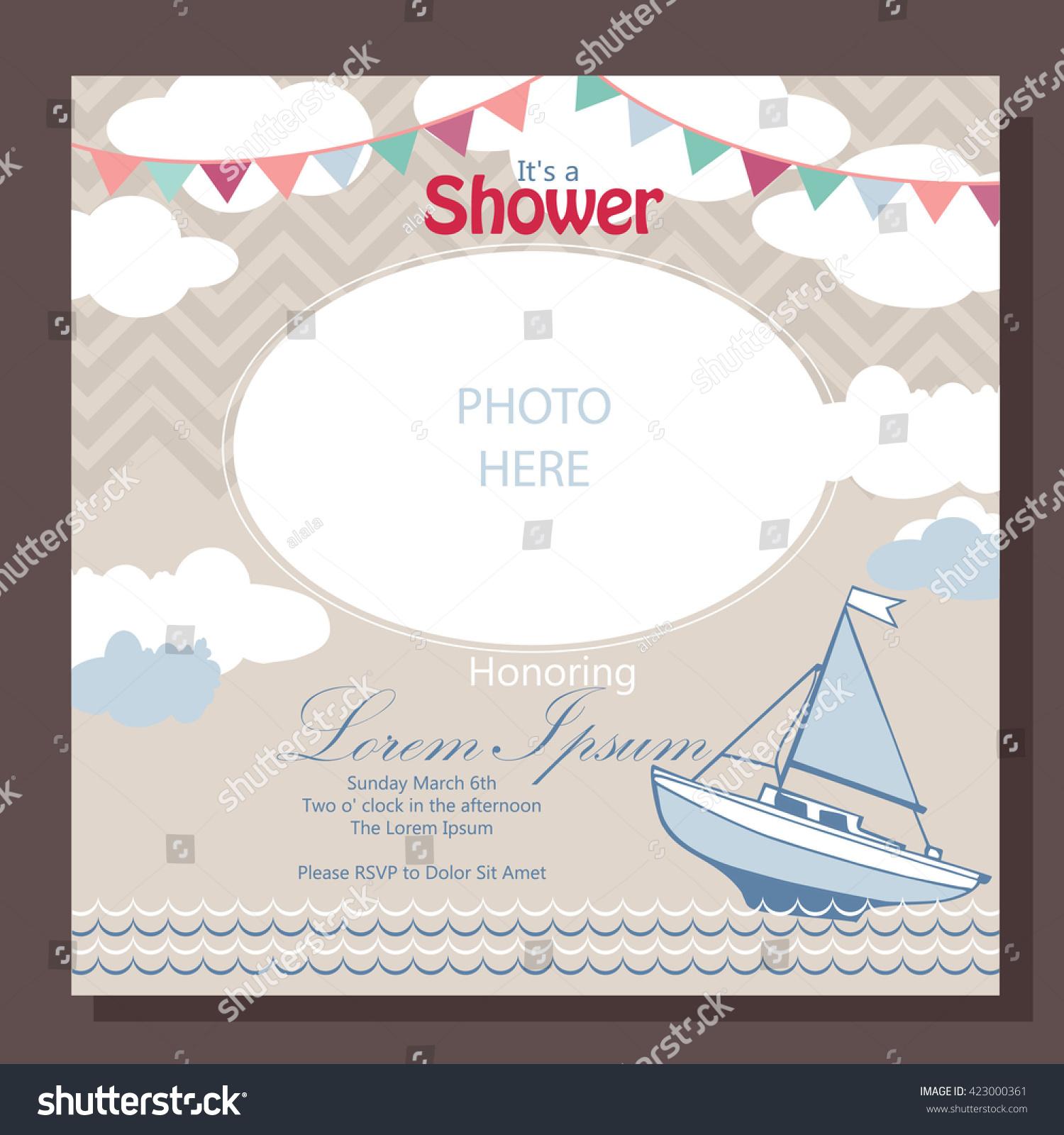 Nautical Baby Shower Card Design Stock Vector