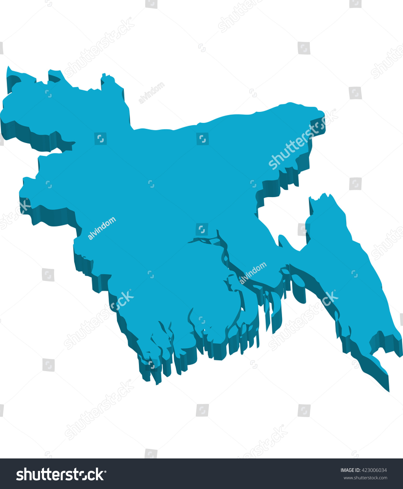 Map Bangladesh 3d White Background Stock Vector Royalty