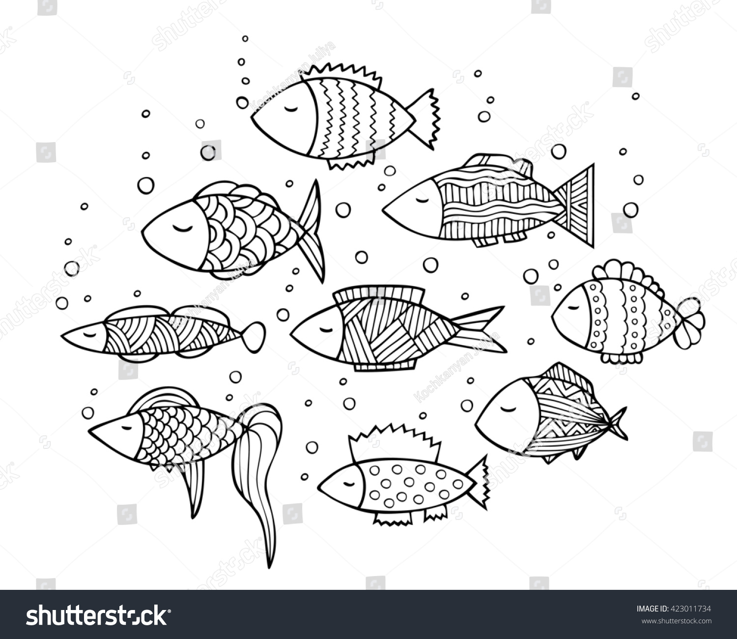 adult coloring book page design with fish coloring book page for adult illustration in - Fish Coloring Book