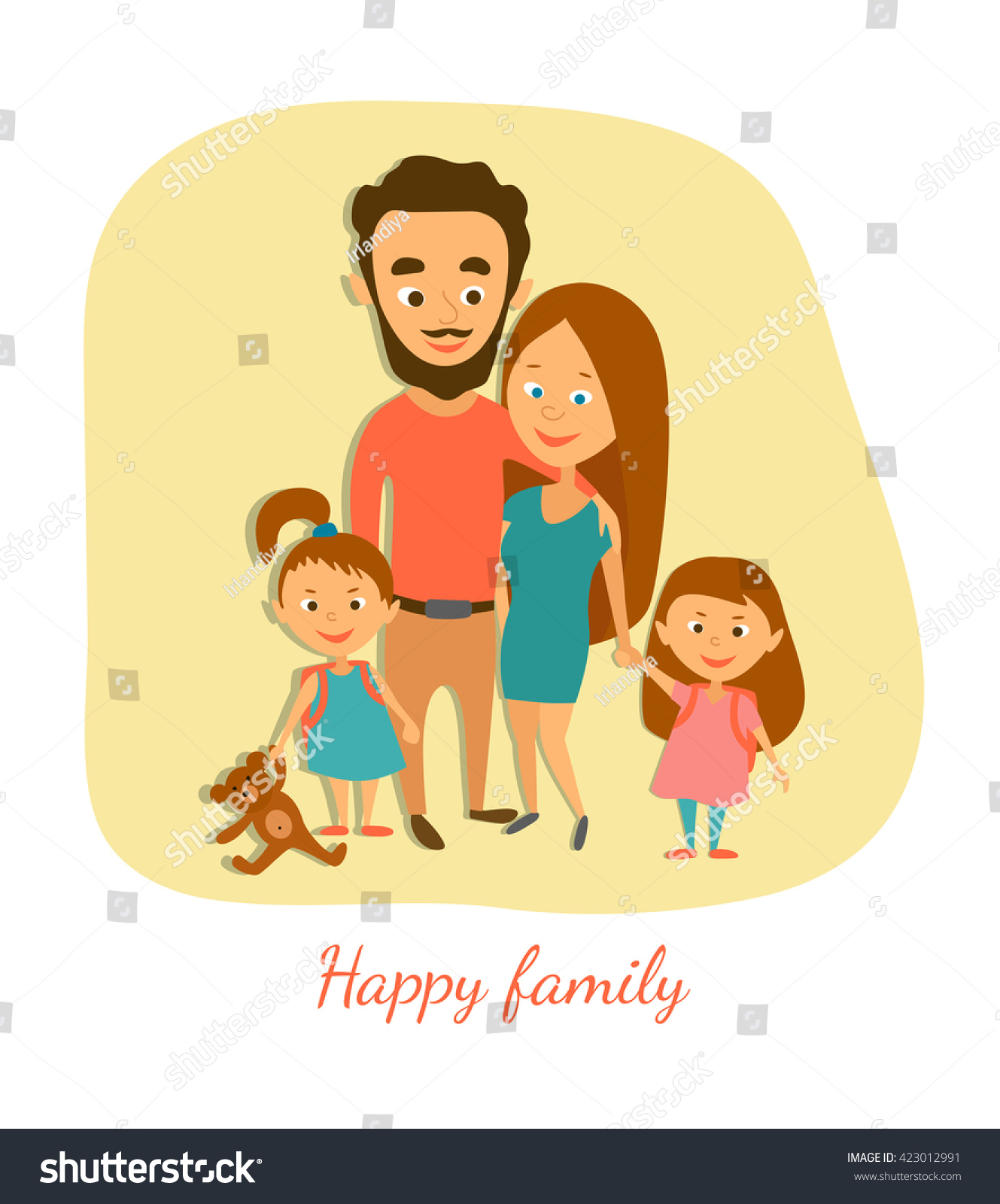 Vector Illustration Happy Married Couple Children Stock ...