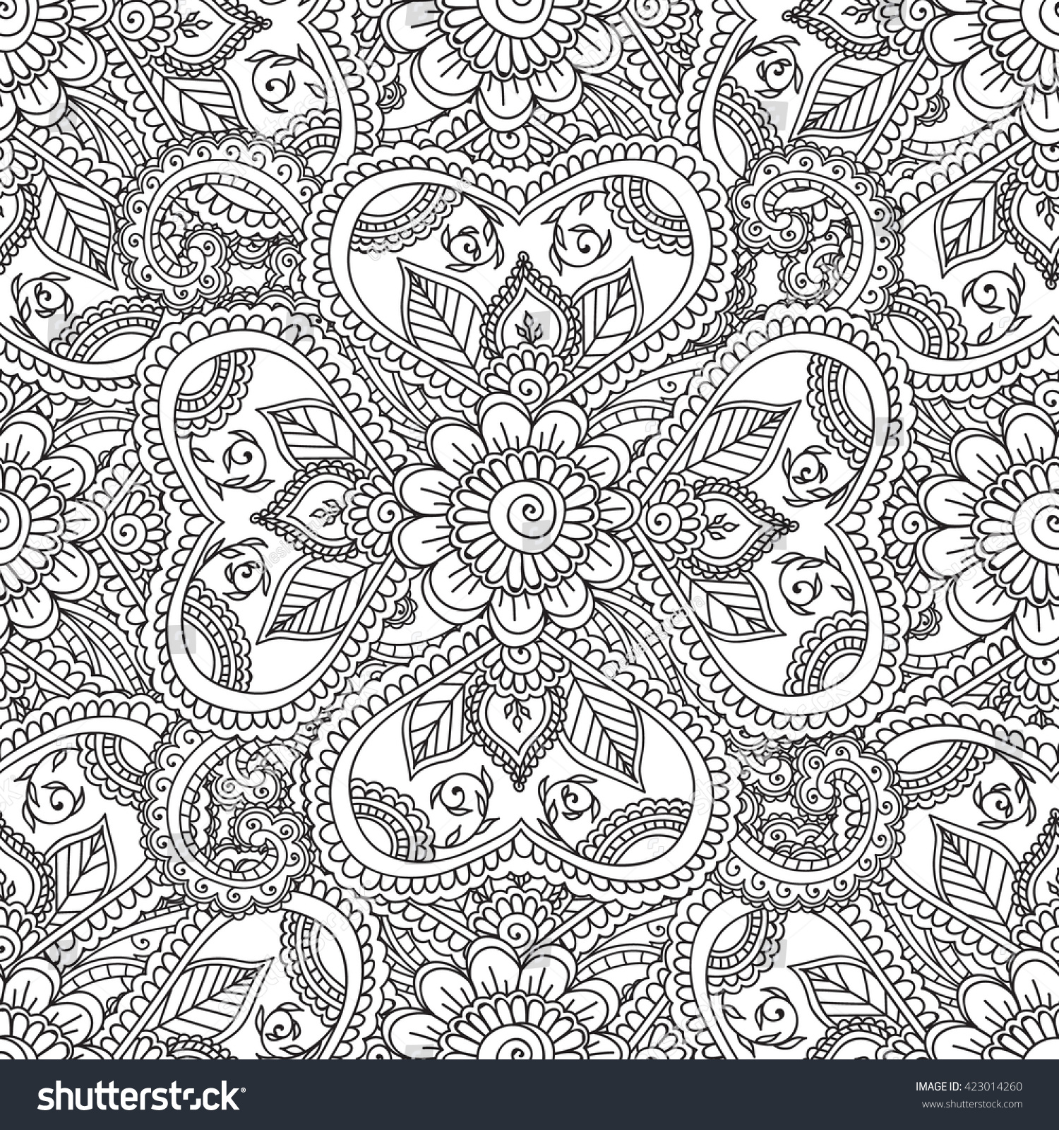 Coloring Pages Adults Seamless Pattern Henna Mehndi Stock Vector ...