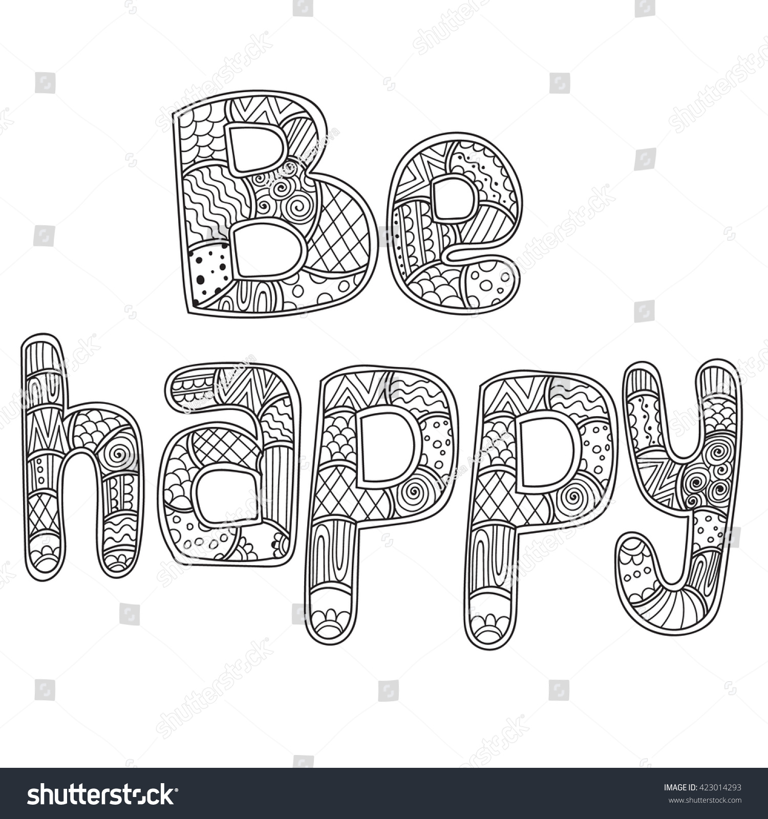 Coloring Pages For Adults Book LetteringWord Be Happy Zentangle Doodles Stylized