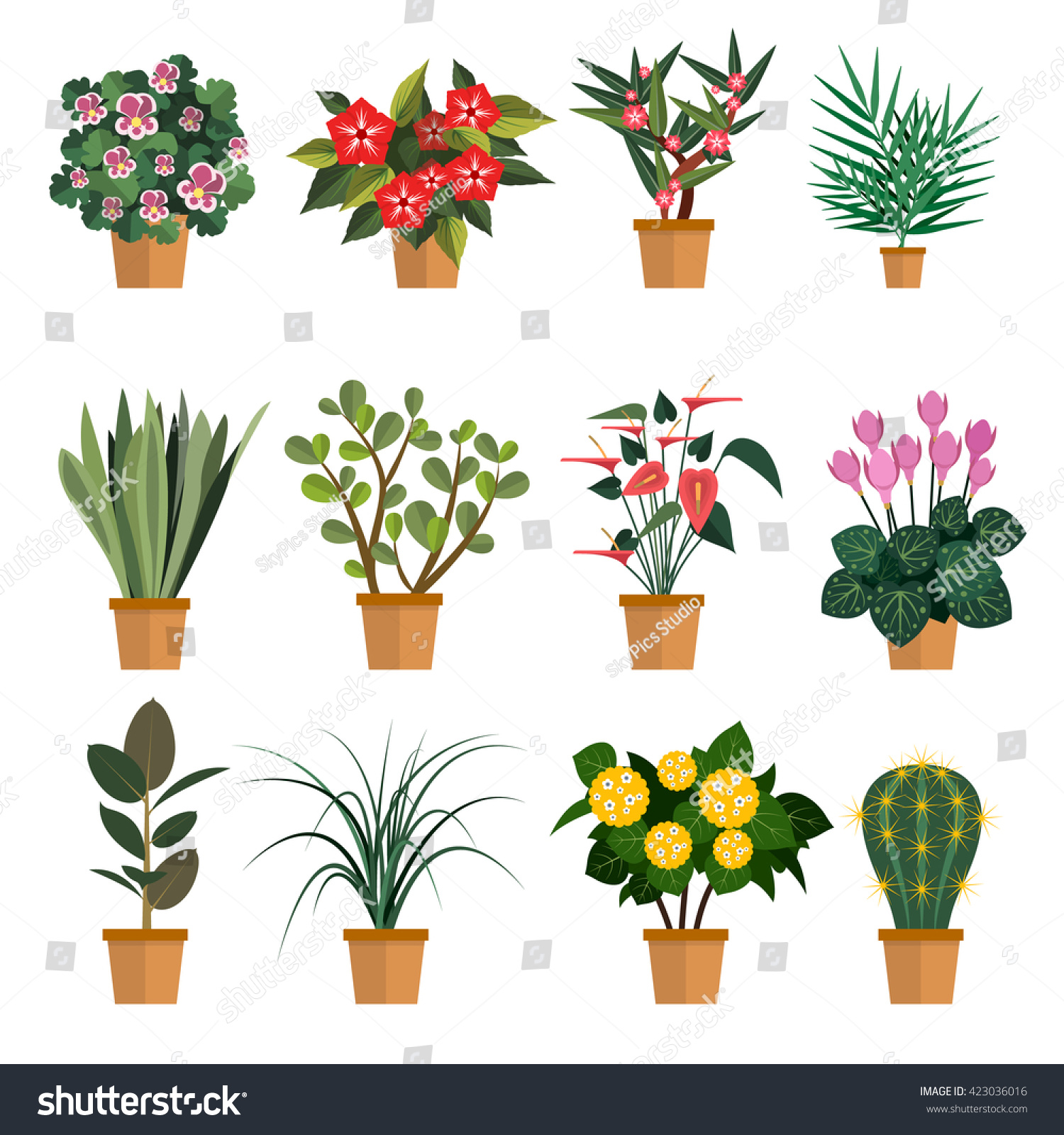 Vector Set Flowers Illustration Different Types Stock Vector