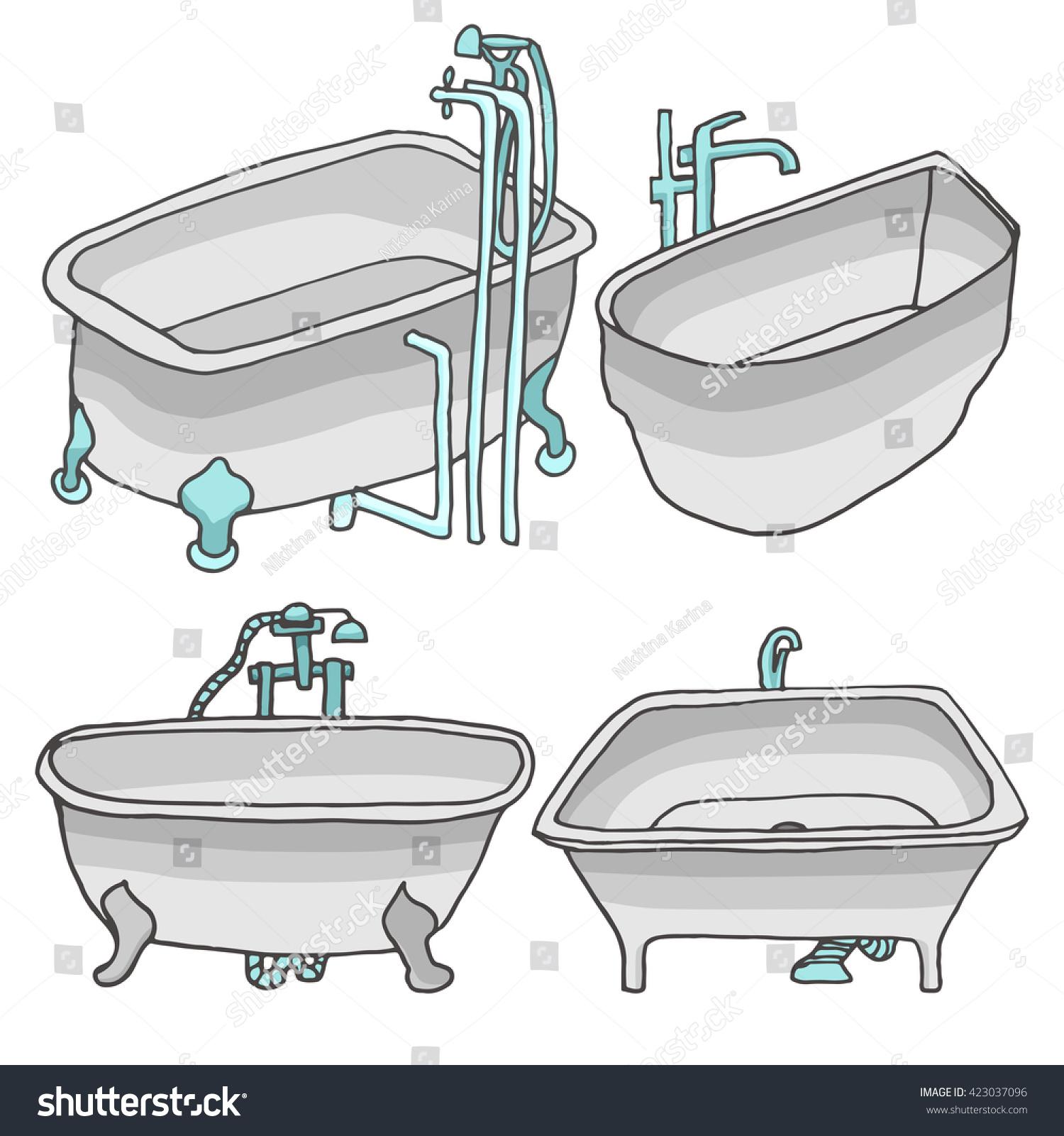 Set Bath Tubes Grey Color Doodle Stock Vector 423037096 - Shutterstock