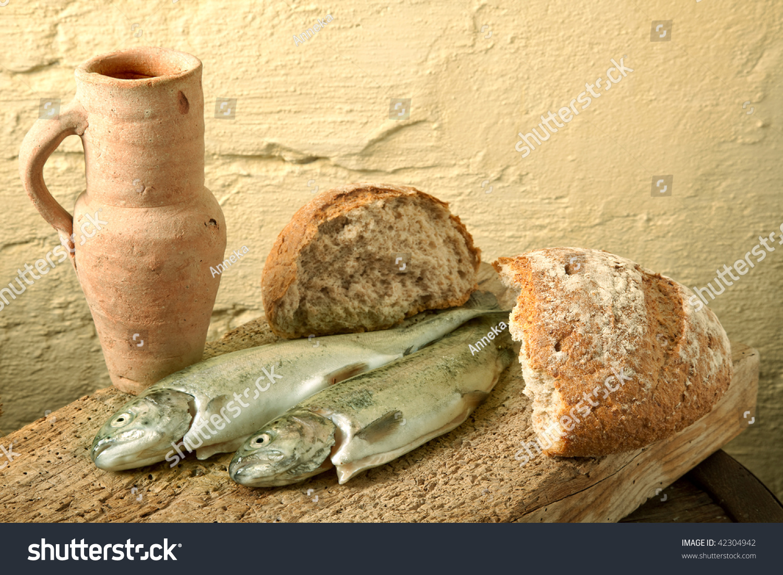 Fish bread wine symbols jesus life stock photo 42304942 for Fishing with bread