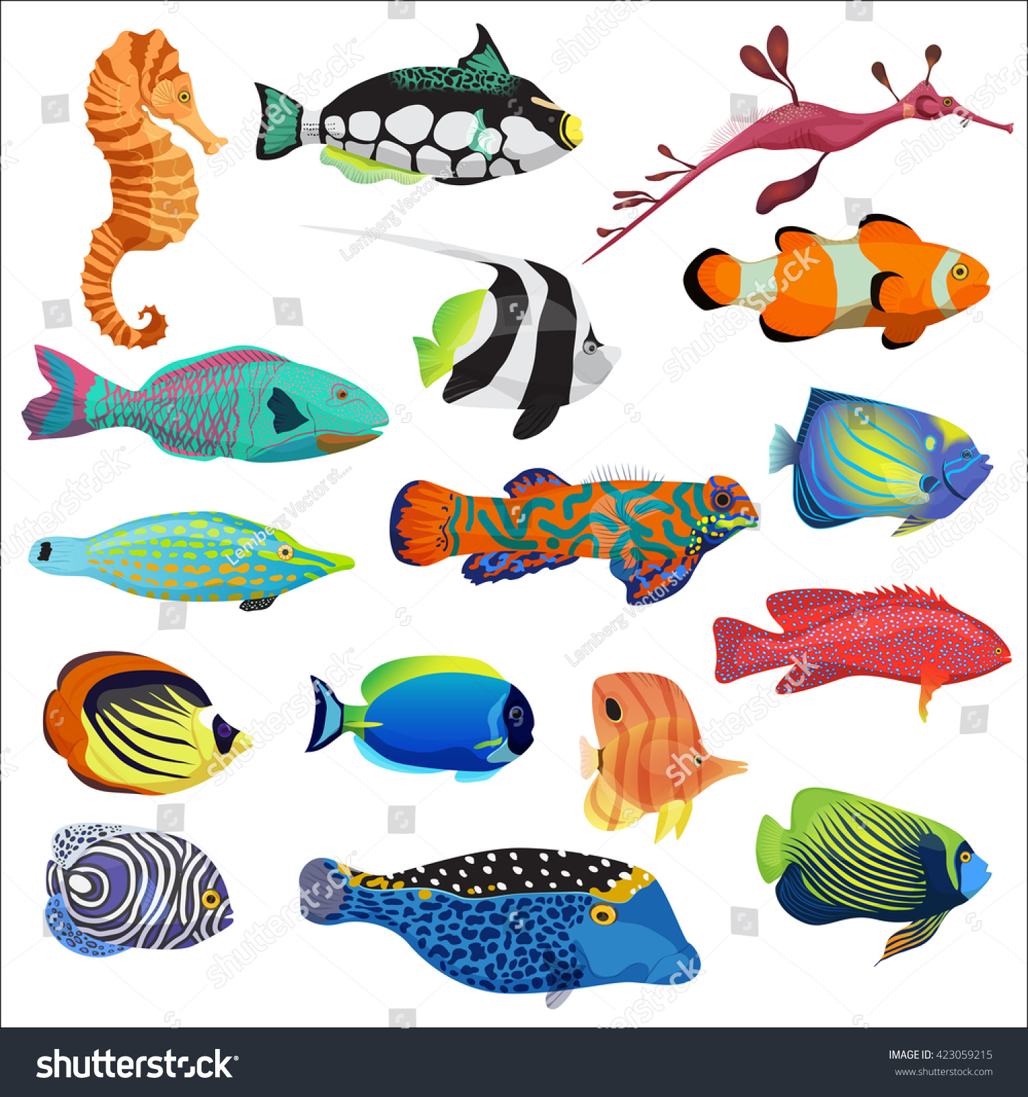 Exotic Cartoon Colorful Tropical Fish Collection Stock ...
