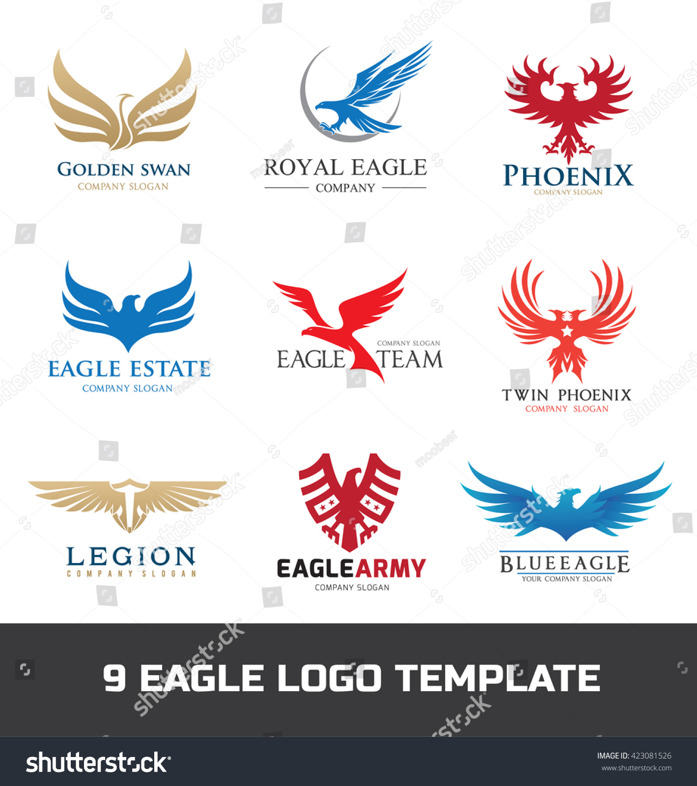 Eagle Logo Set Bird Logo Phoenix Stock Vector 423081526