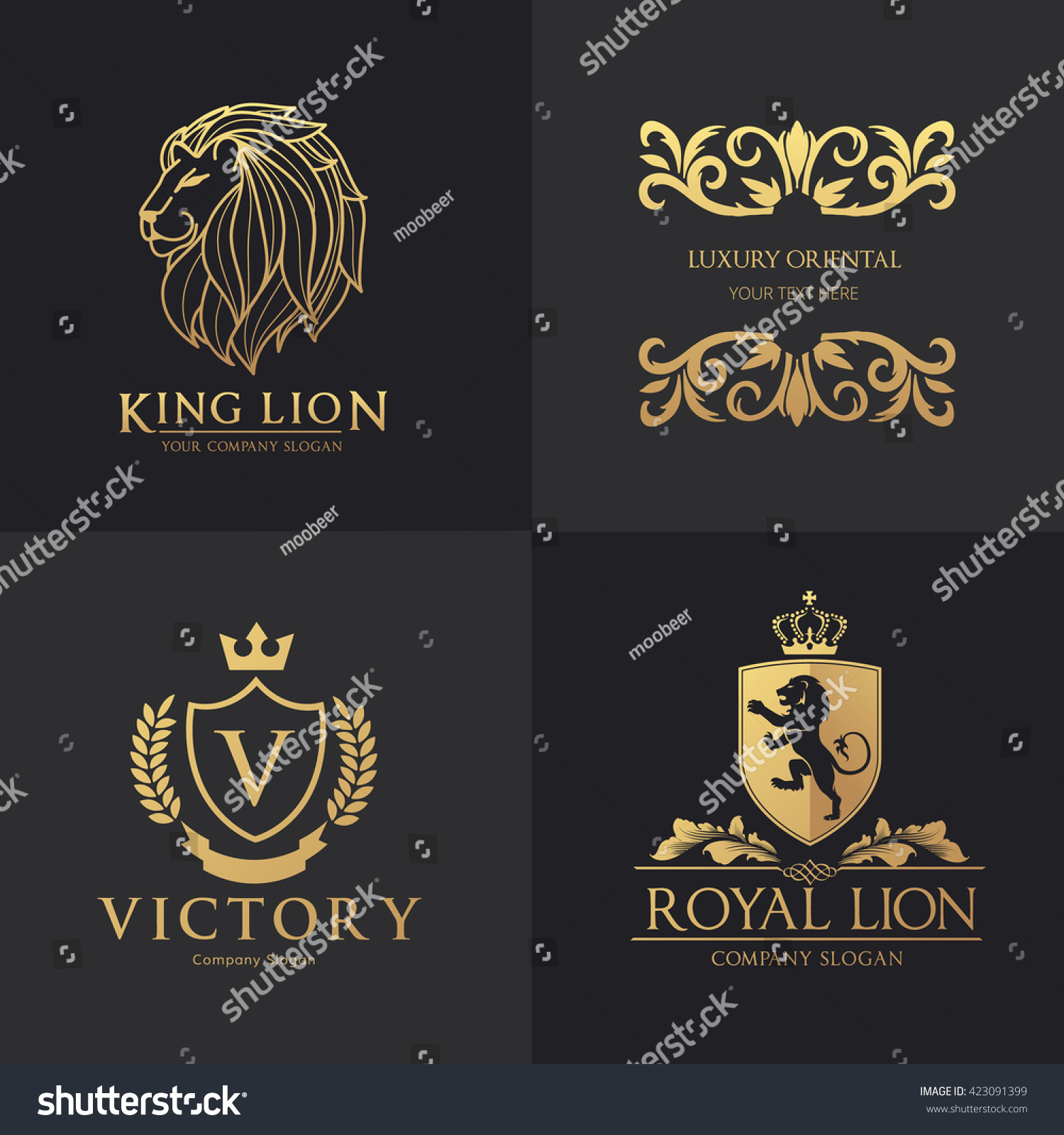 Luxury Logo Set Hotel Logo Lion Stock Vector 423091399 - Shutterstock