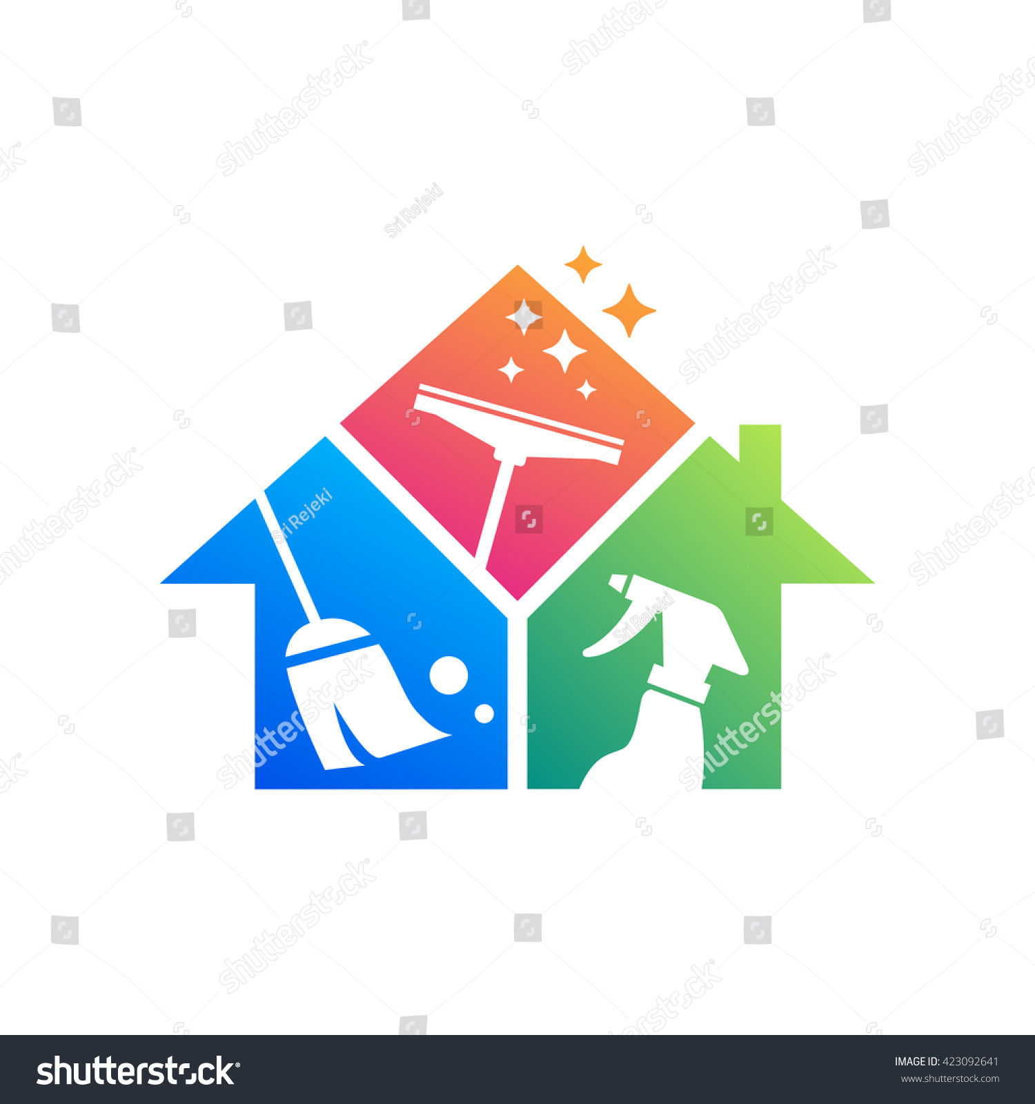 Cleaning service logo design idea creative stock vector for How to start building a house