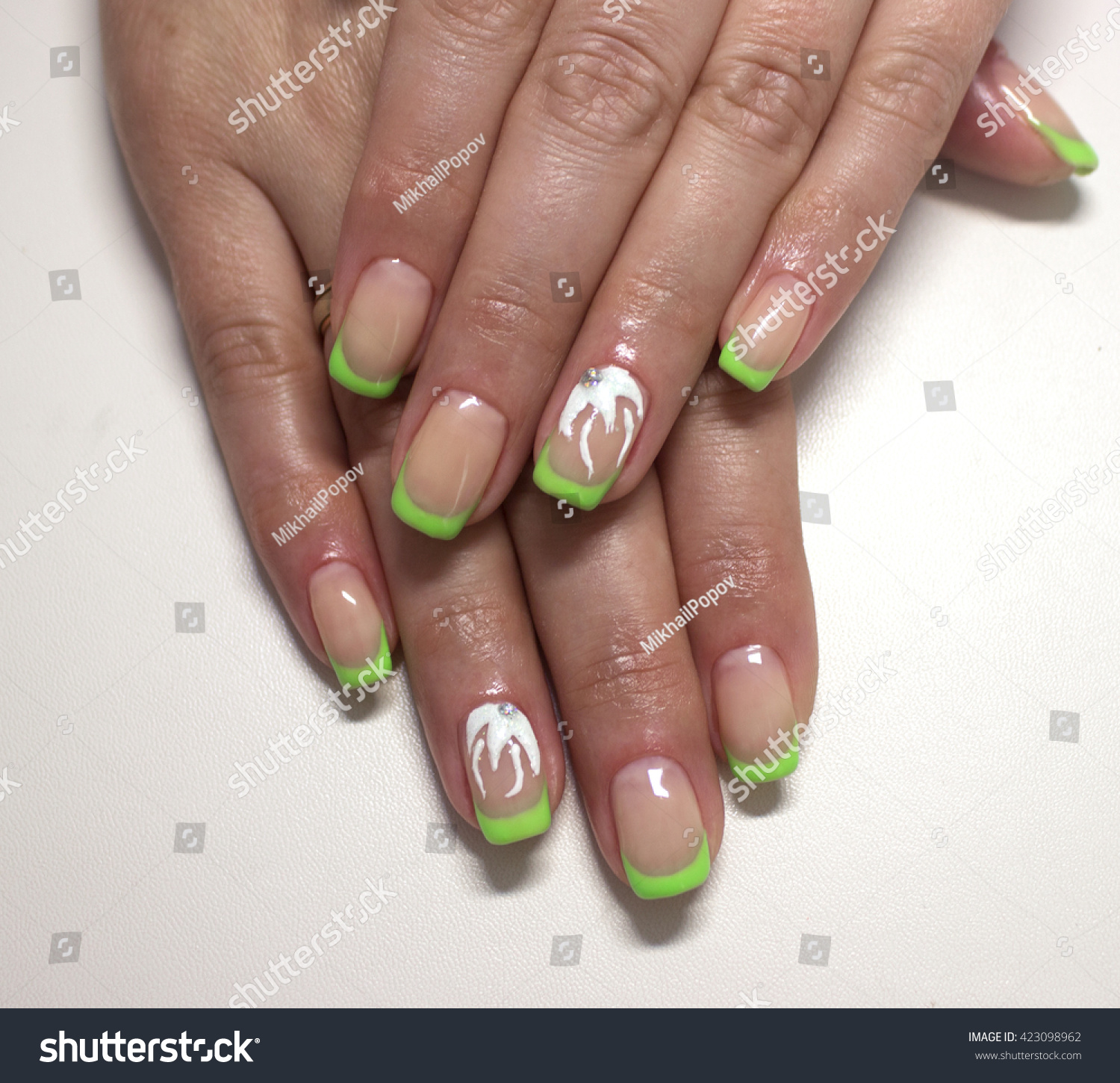 Green French Nails Flower Stock Photo (Royalty Free) 423098962 ...