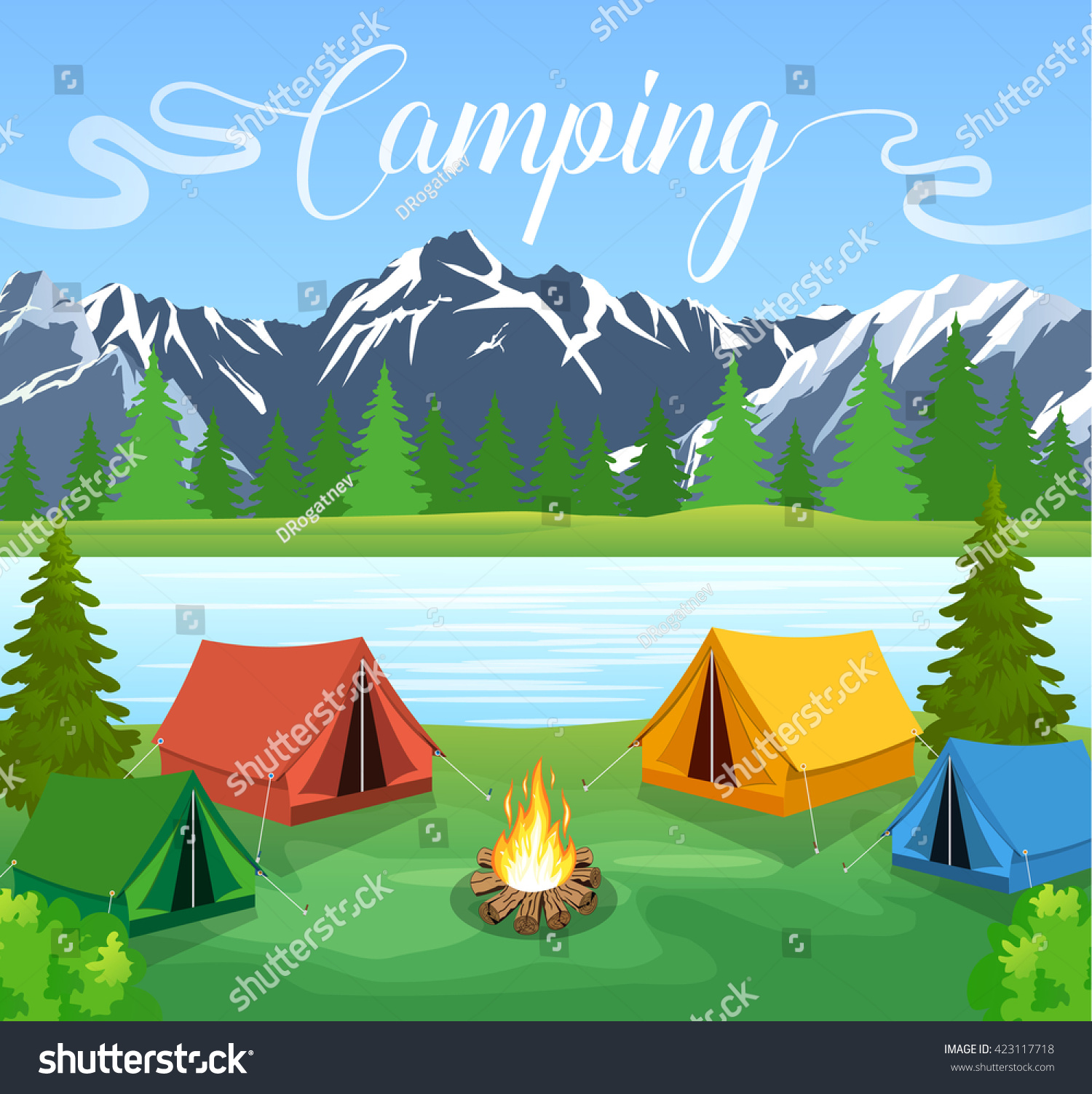 Vector Flat Illustration Camping Nature Background Stock ...