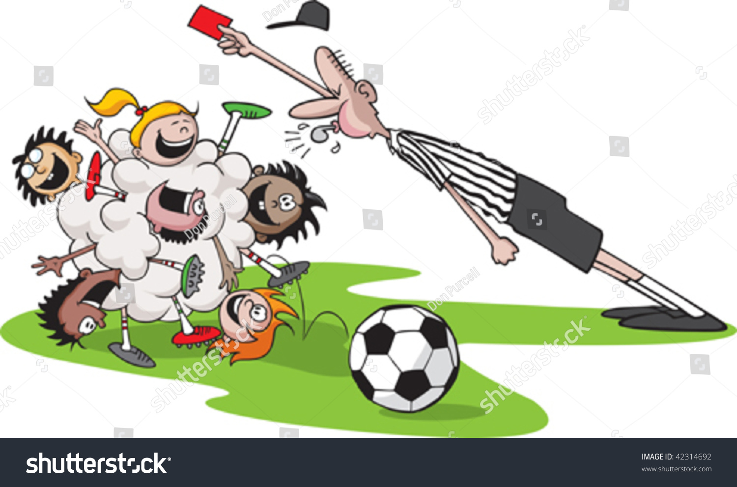 A Vector Cartoon Of Kids Playing Soccer. Kid Bunch,Referee