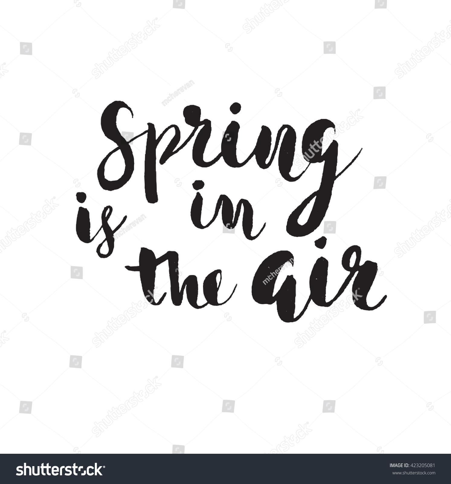 Quote poster design inspiration -  Spring Is In The Air Hand Drawn Inspiration Quote Vector Typography Poster Design