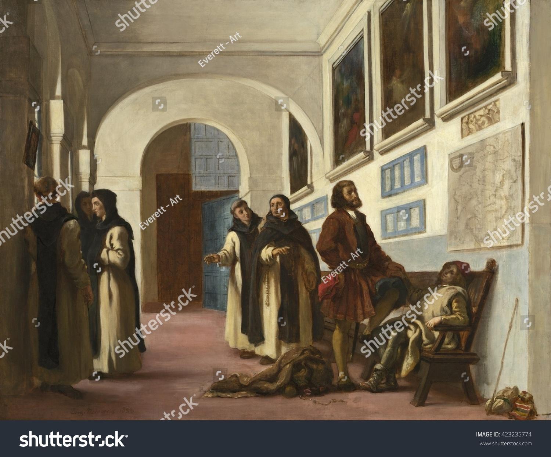 christopher columbus his son la rabida stock illustration
