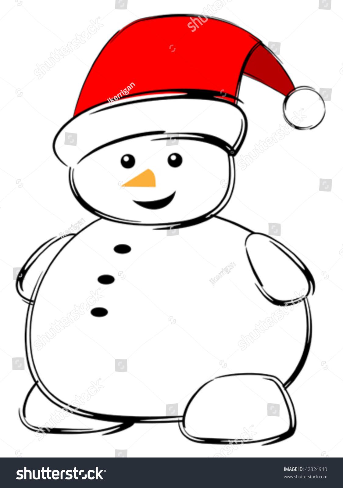 Vector illustration small cute snowman cartoon stock for Small snowman