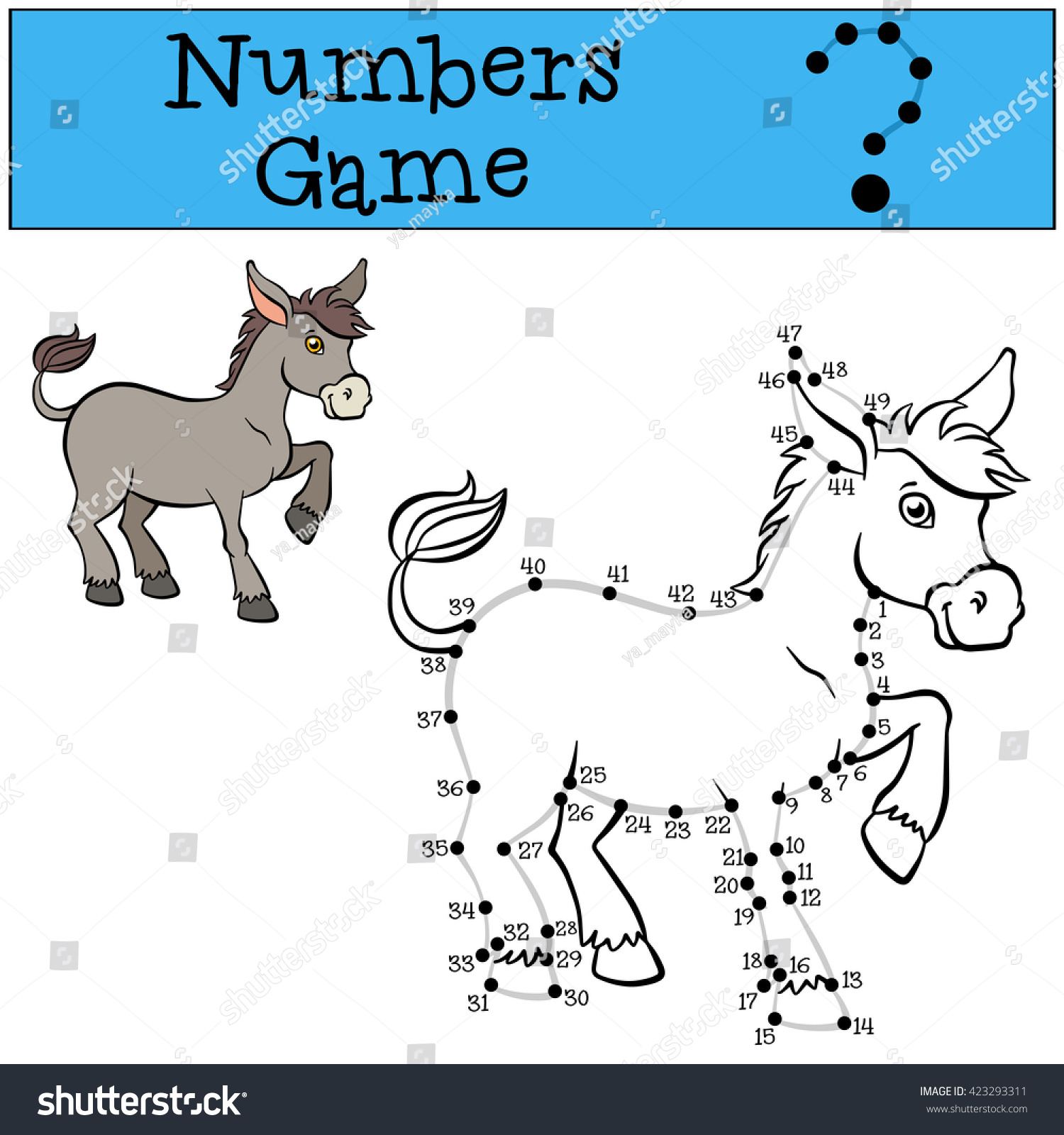 Educational Games Kids Numbers Game Contour Stock Vector