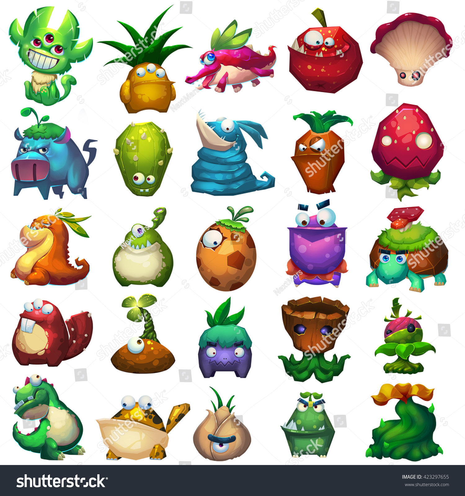 Creature And Character Design Book : Plant animal creature set monster mascot stock
